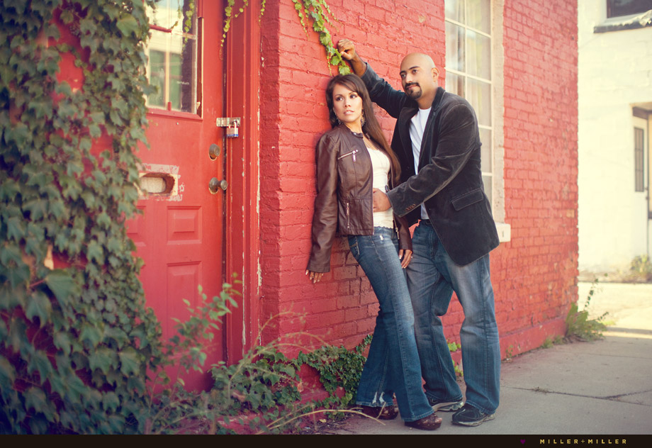 engagement photos red brick wall
