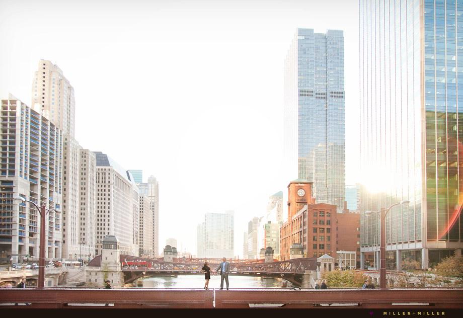chicago river bridges engagement photo