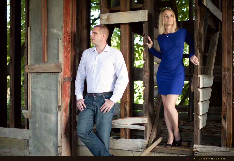 modern engagement photos in abandoned barn