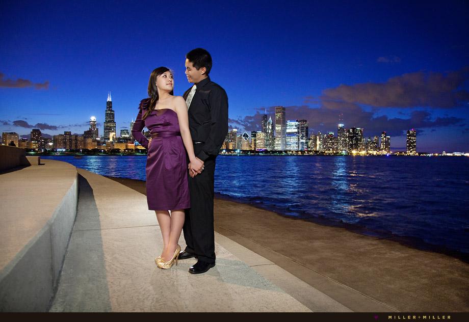 night portraits along chicago shoreline
