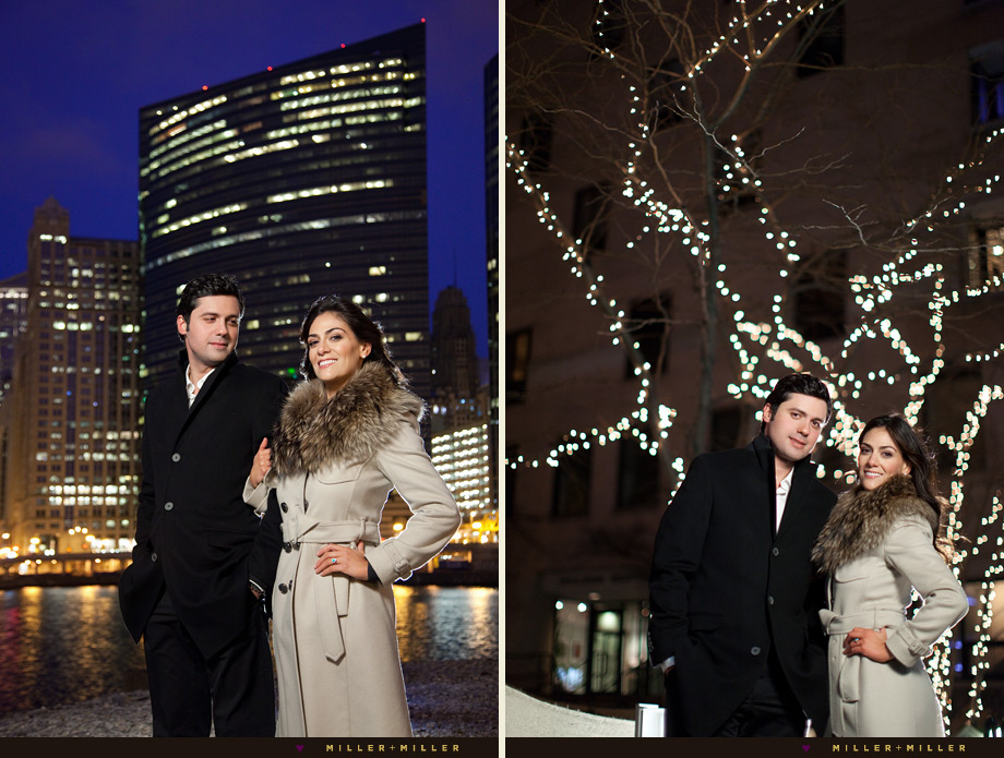 chicago night couple portraits