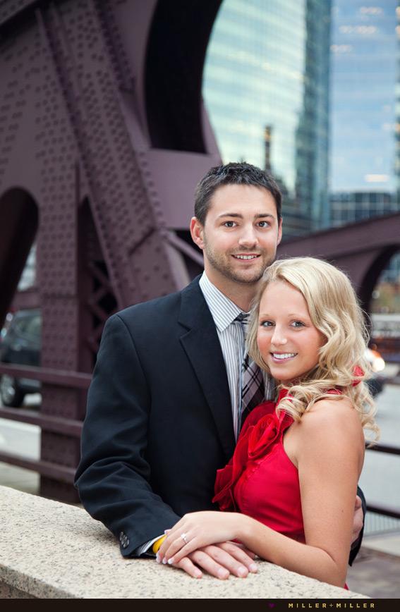 chicago river bridge engagement portrait