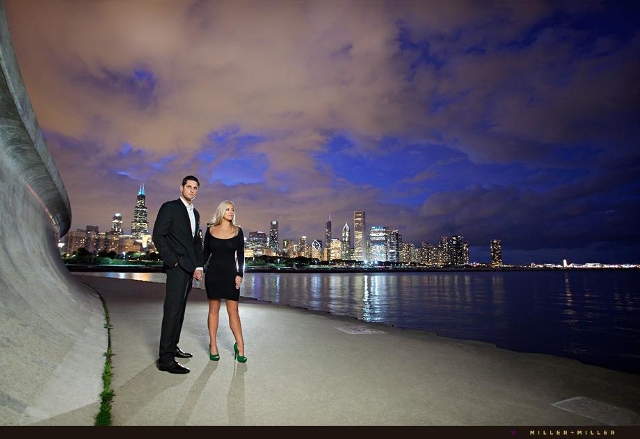 dramatic engagement photos chicago