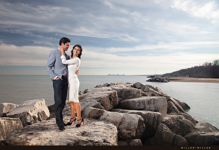 rocky shoreline engagement photos