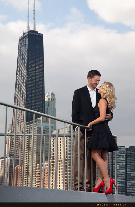 rooftop engagement photos chicago