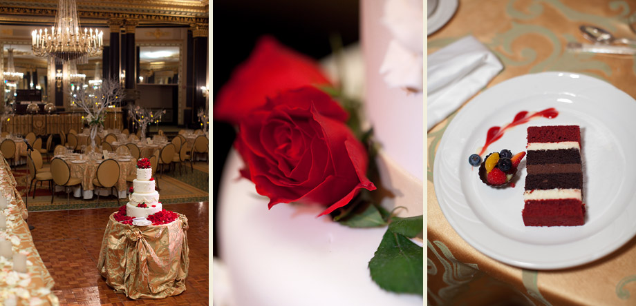 classic red roses gold reception details