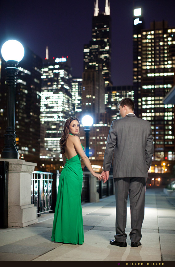 chicago pier night engagement photographs