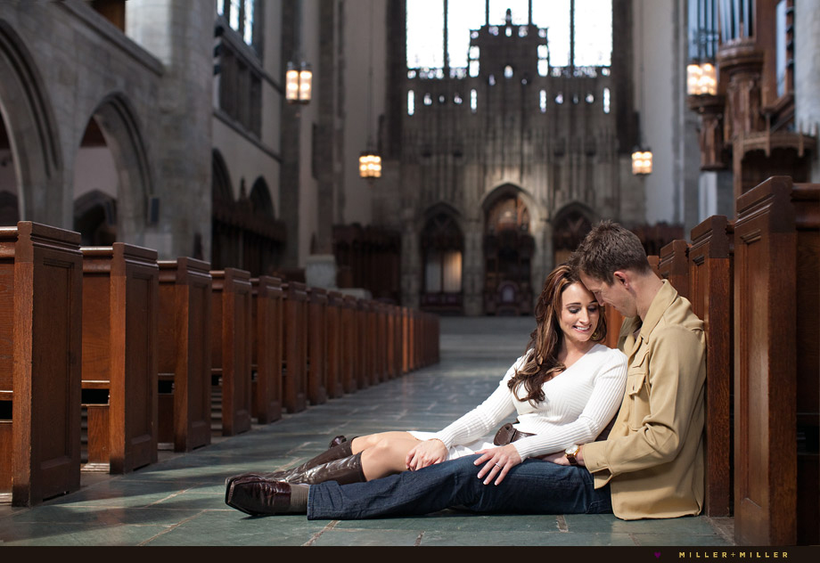 sitting church pews engagement photographs