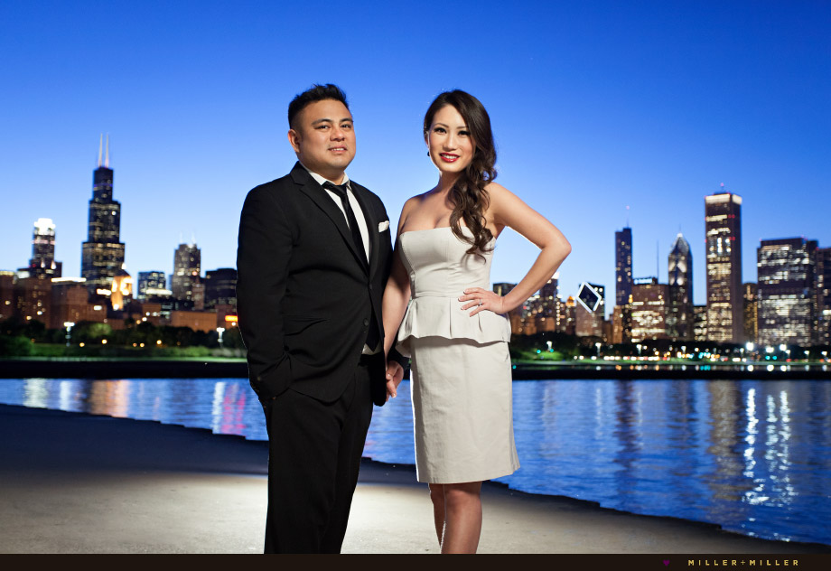 formal portraits by water skyline