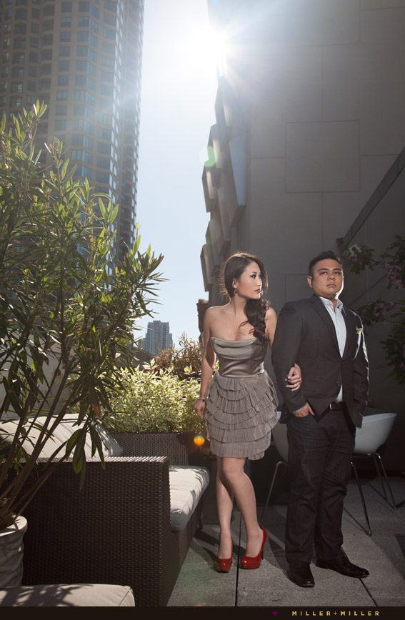 outdoor rooftop ceremony with chicago skyline view