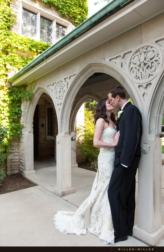 elegant bride vintage groom church