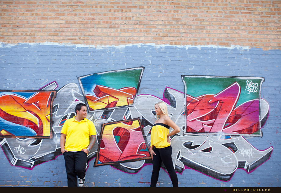 graffiti wall chicago engagement photos