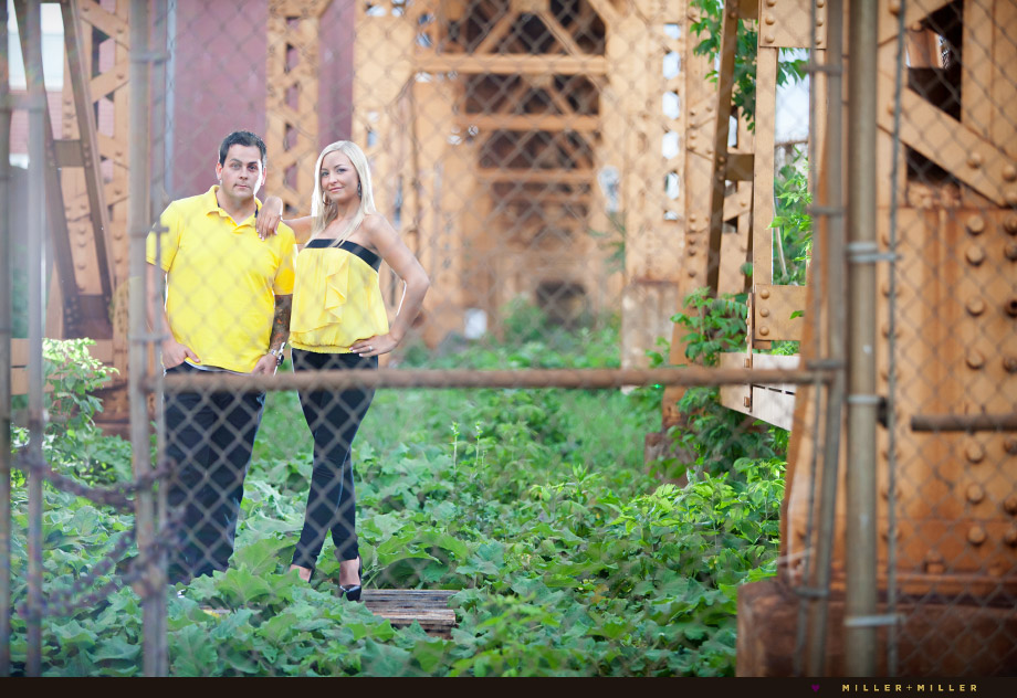 gritty chicago L train engagement session