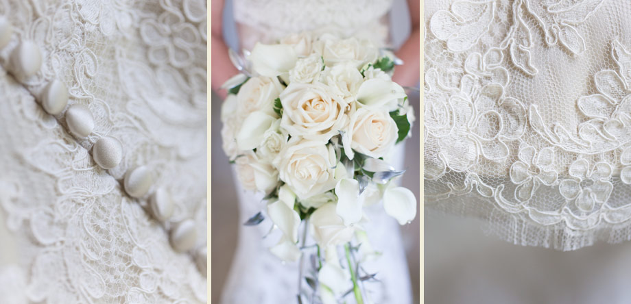 lace satin wedding gown buttons white roses