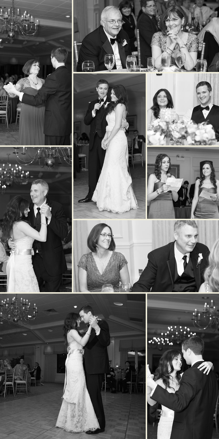 reception black white photographs