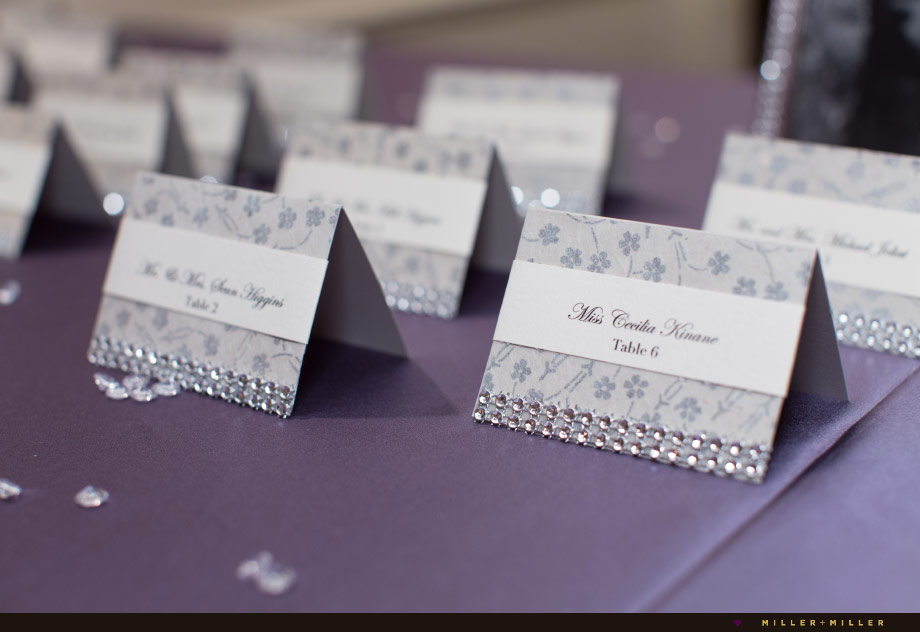 silver purple reception placecards