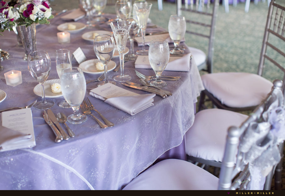 silver purple spring wedding reception decor