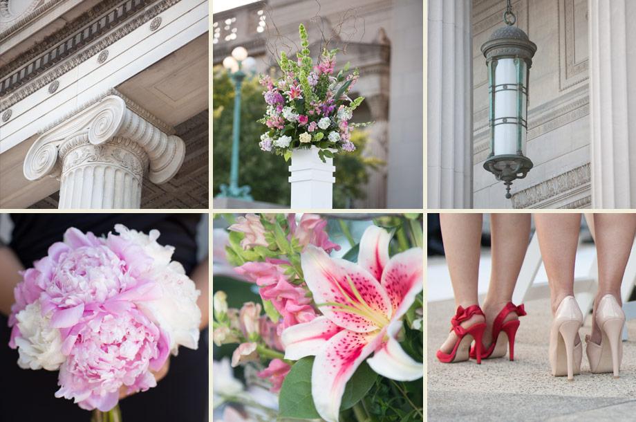 blush pink peonies bouquets vintage columns