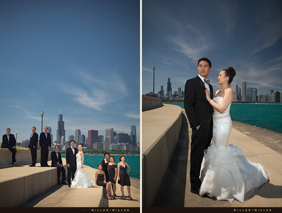 bridal party city skyline