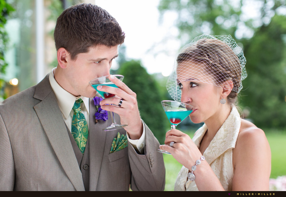 bride drinking turquoise martini