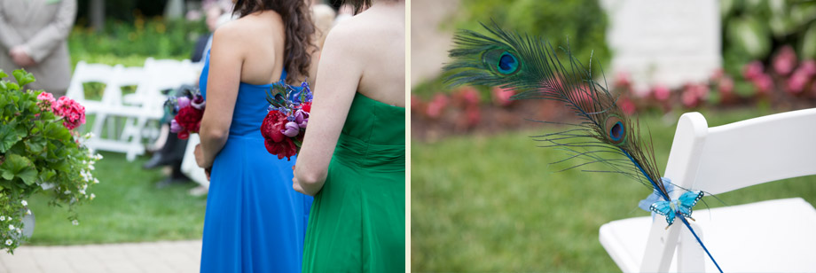 outdoor peacock theme ceremony decor