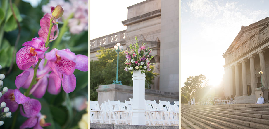 romantic vintage columns building ceremony setting