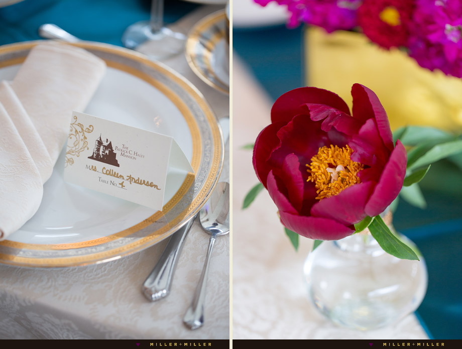 vibrant gold turquoise pink purple table settings