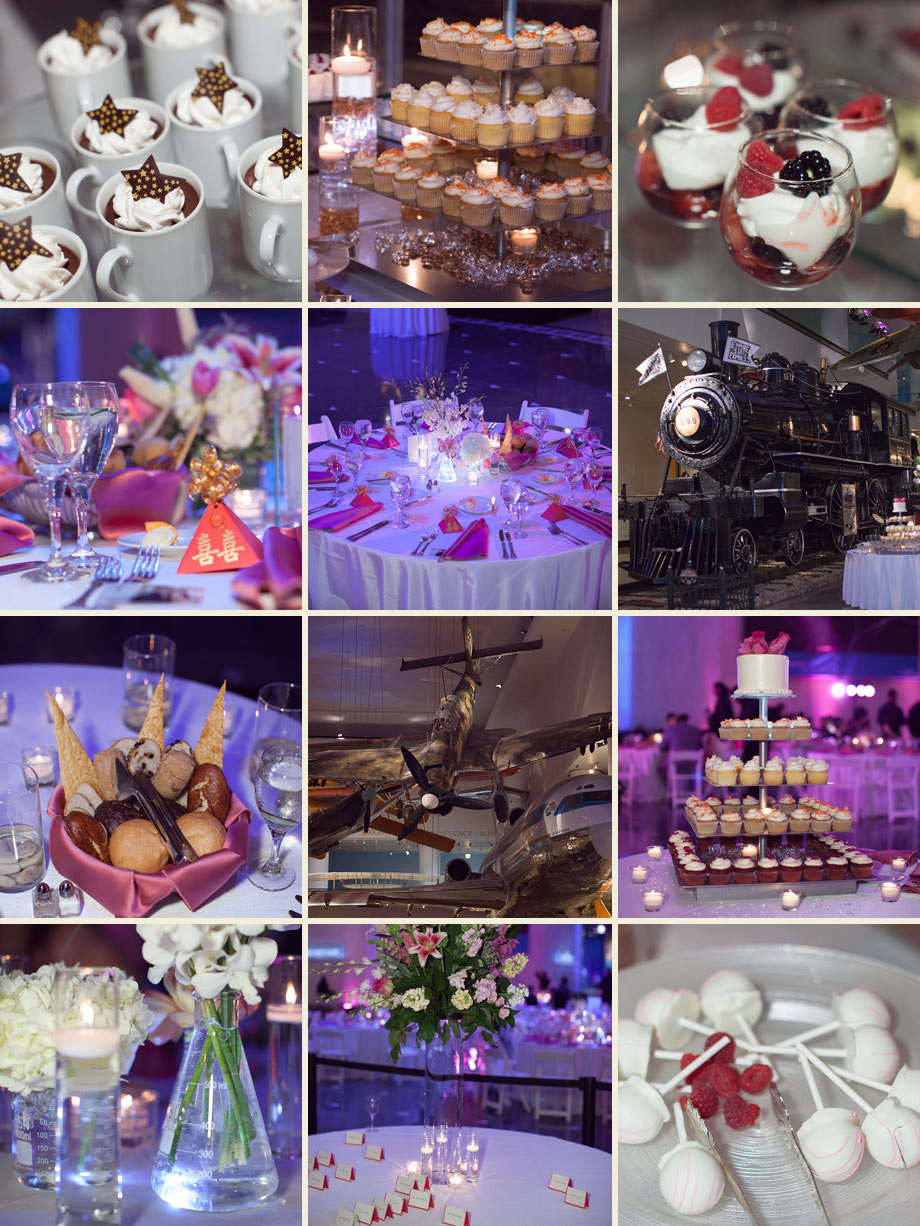vintage airplane train museum wedding reception