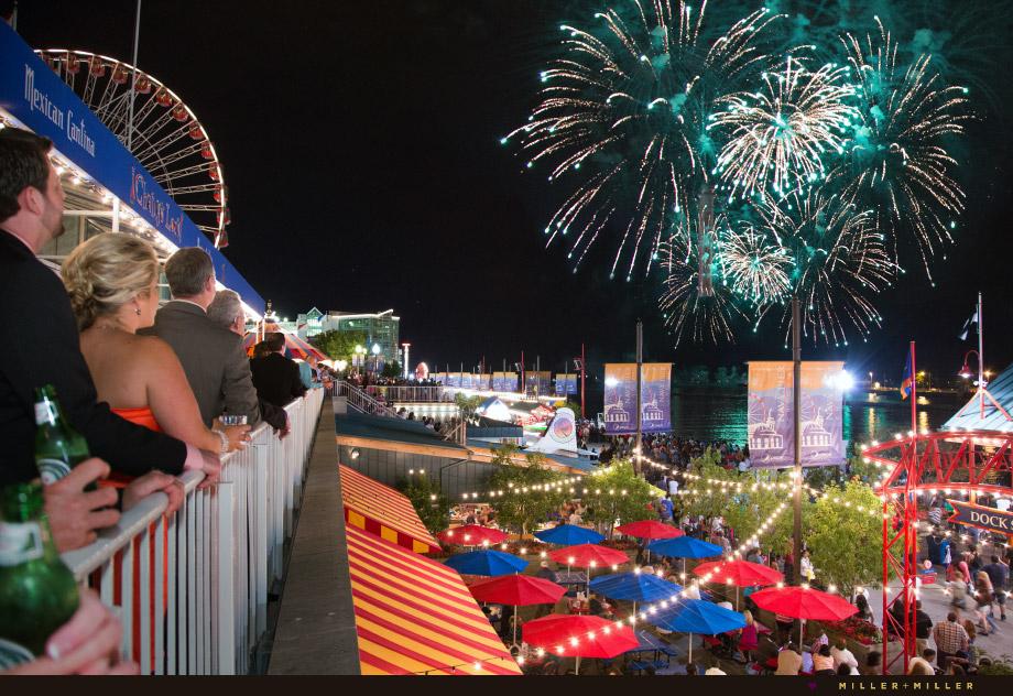 ferris wheel navy pier dock fireworks
