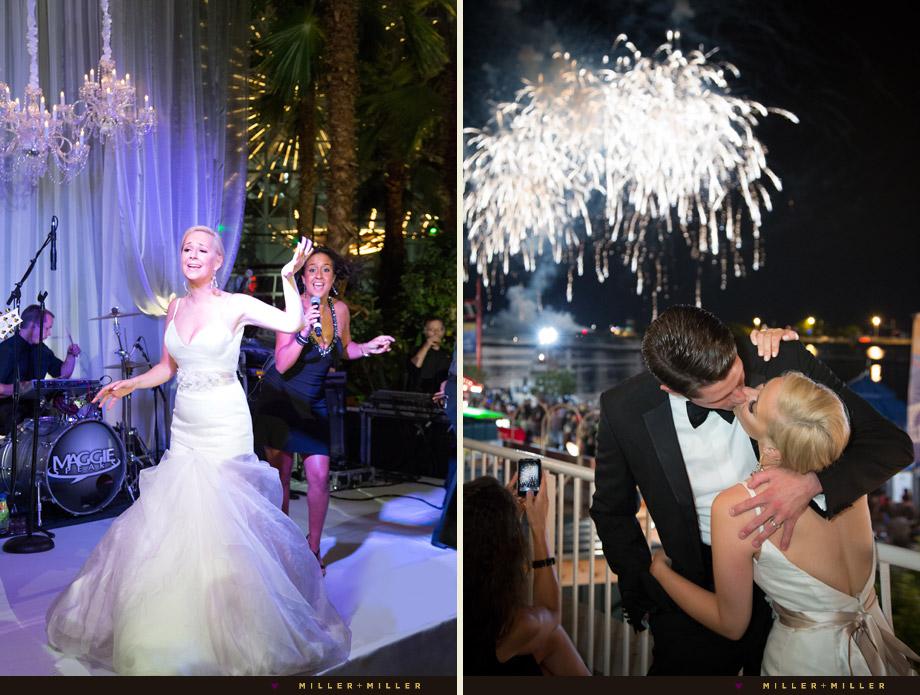 kiss under chicago fireworks bride on stage