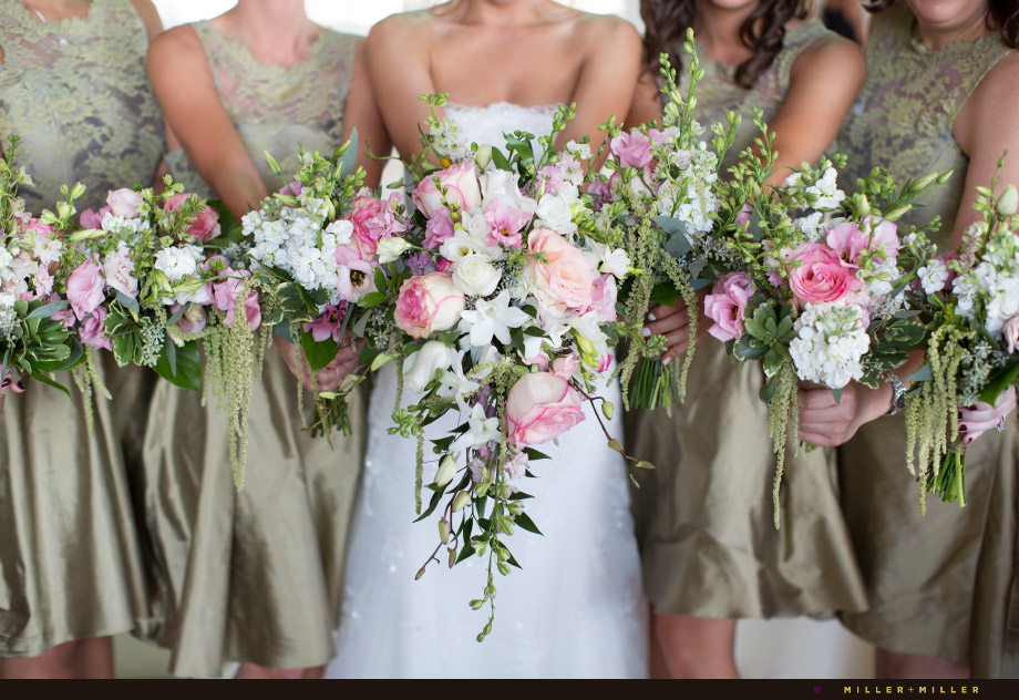 bridal bouquet pink hanging green amaranths flowers