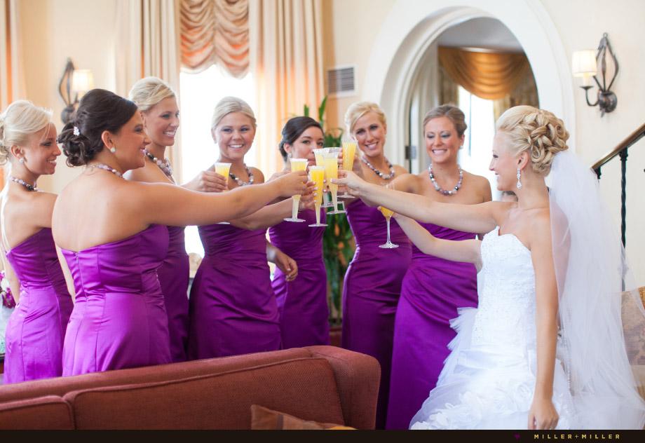 bride bridesmaids mimosa toast