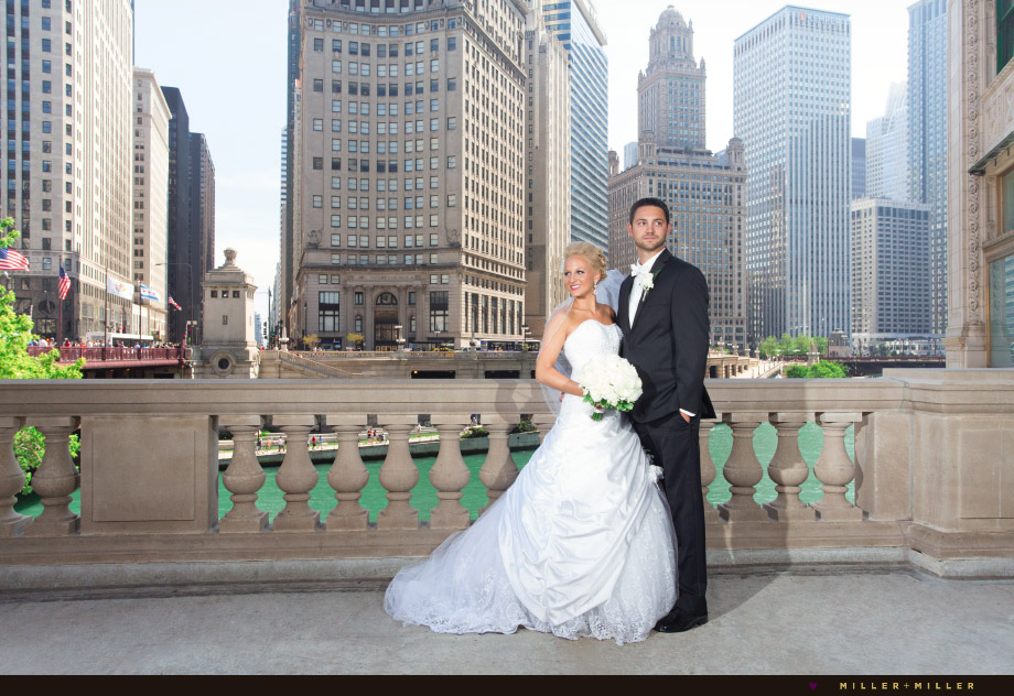 chicago river michigan avenue bridge wedding photographs