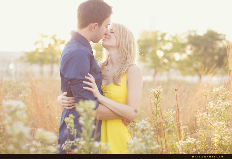 grassy daisy field romantic engagement photos