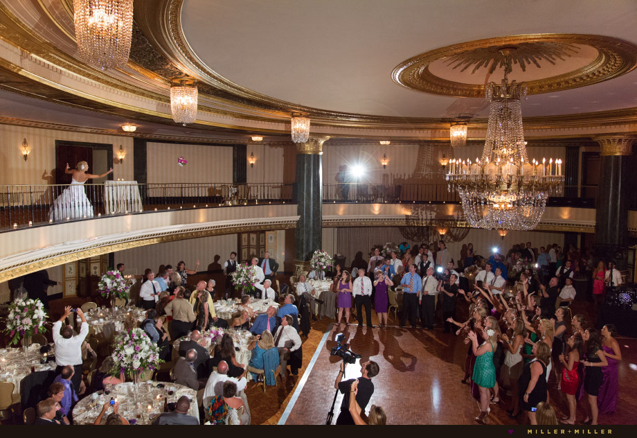 two story bouquet toss ballroom gold ceiling
