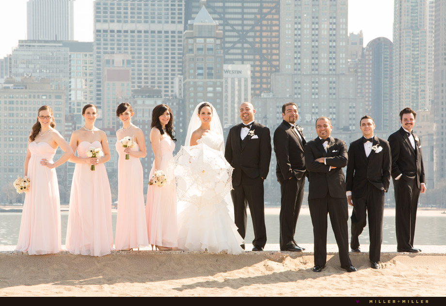 bridal party pictures chicago skyline