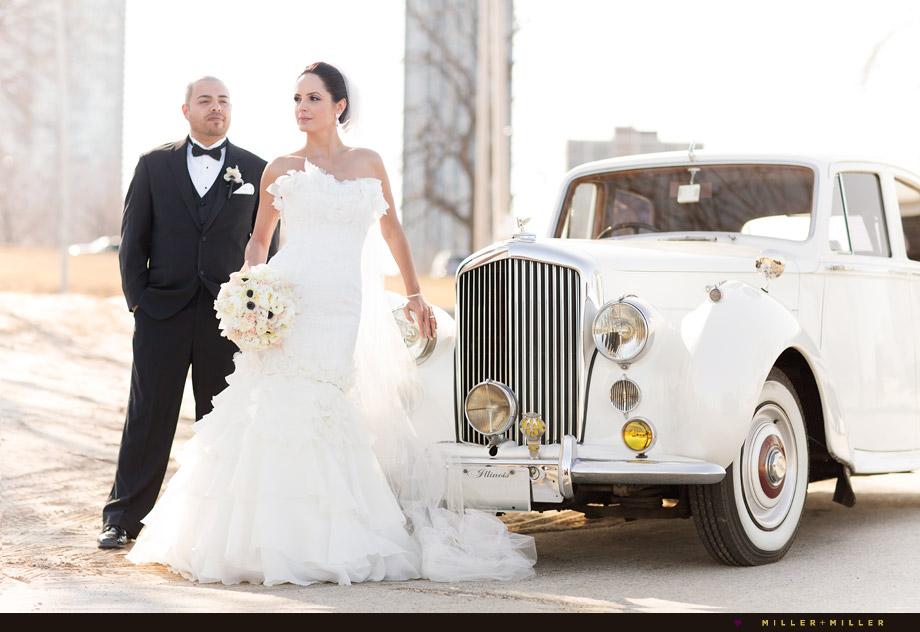 bride groom classic 1950s wedding car