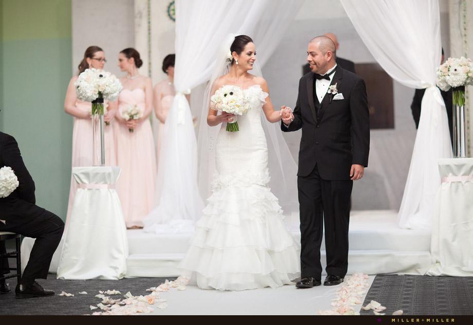 bride groom just married