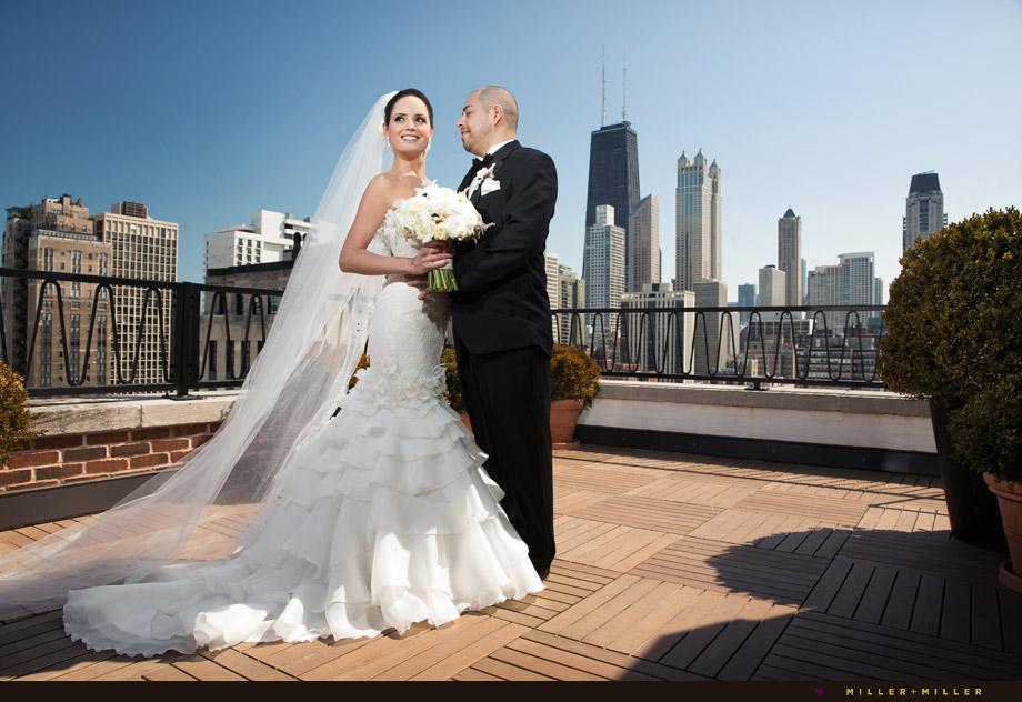 bride groom michigan avenue rooftop terrace