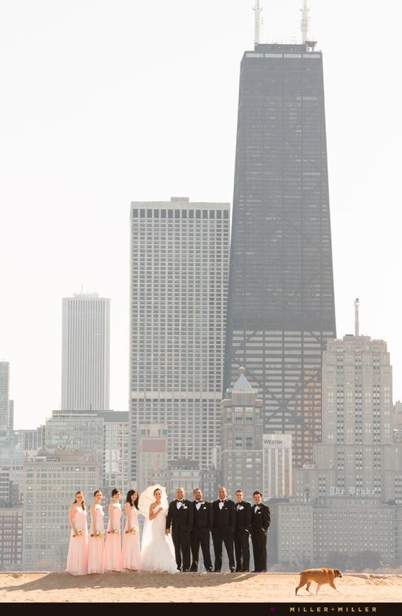 bridesmaids groomsmen handcock skyscraper skyline