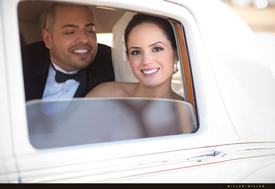 classic white wedding car