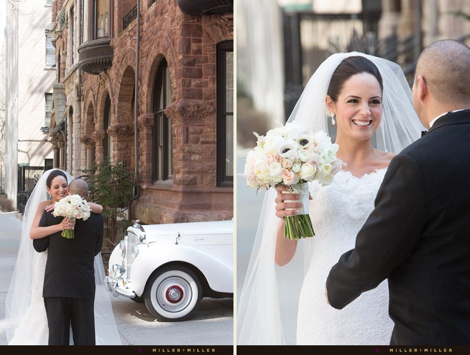 first look reveal bride smiling groom