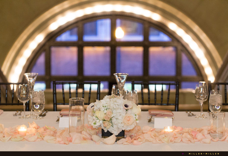 ivory pink head table