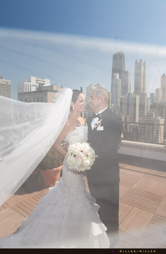 public chicago hotel rooftop wedding photos