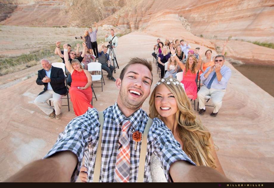bride groom ceremony selfie