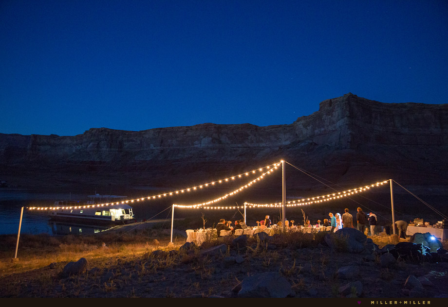 string lights zig zag overhead outdoor reception