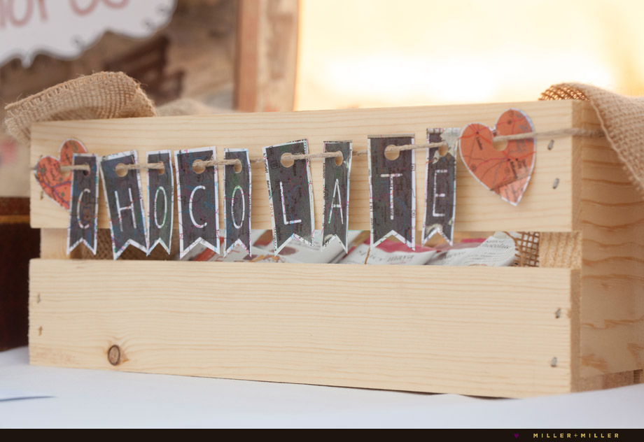 vintage chocolate letters smores wooden crate