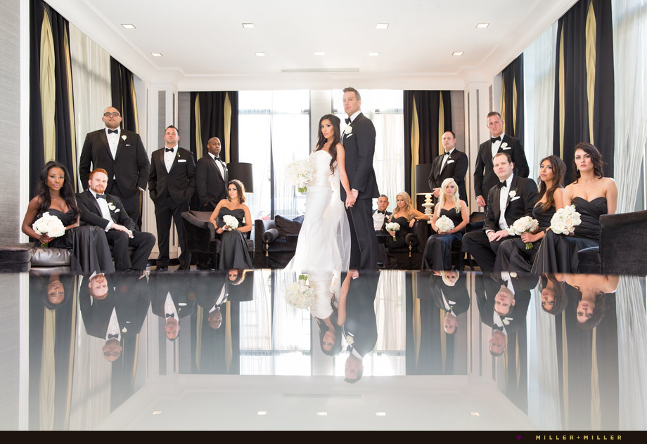 modern glamorous bridal party photos
