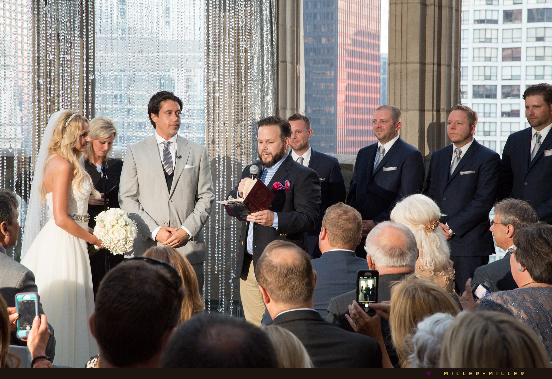 Chicago skyline wedding ceremony