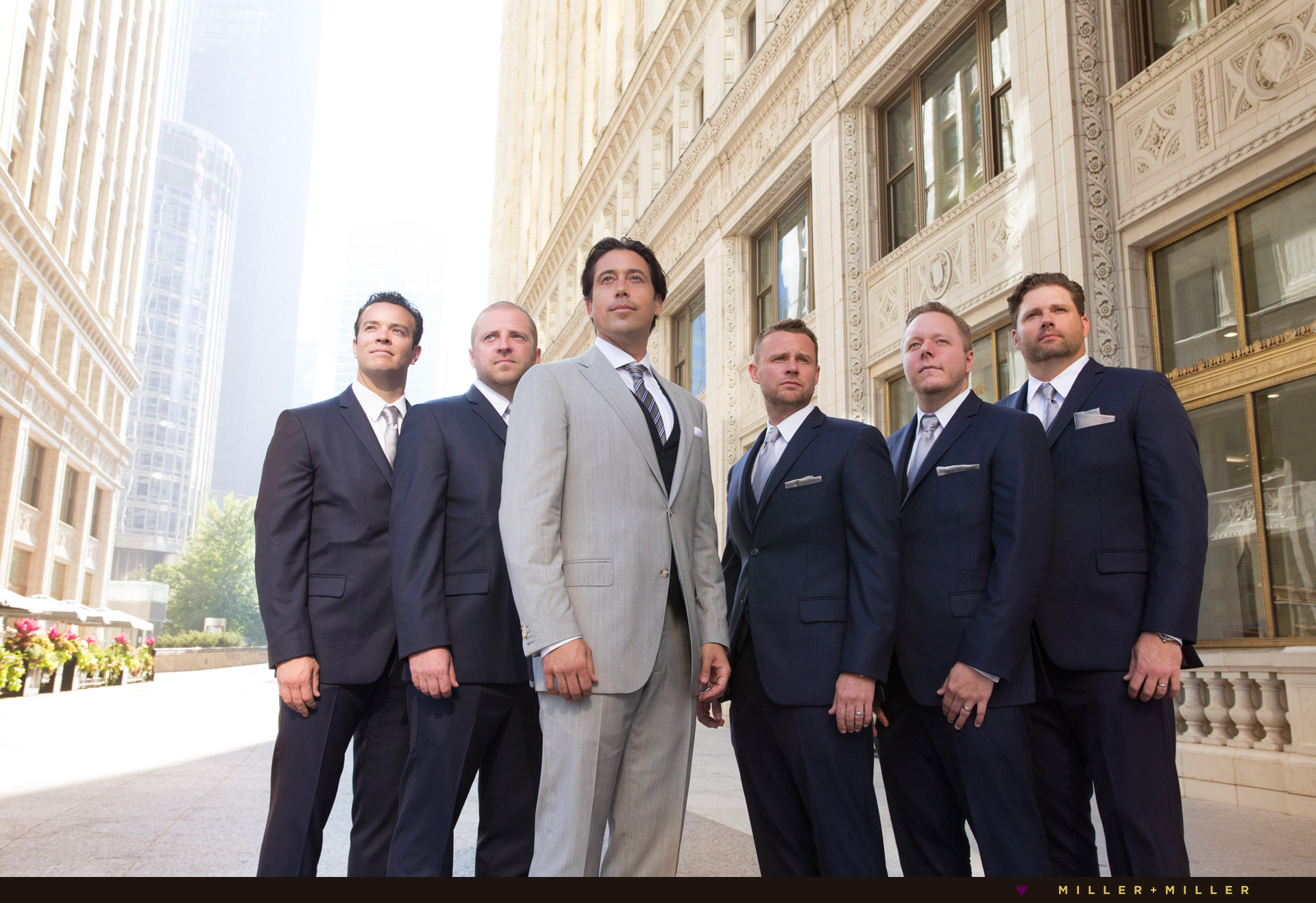 historic wrigley building groom groomsmen